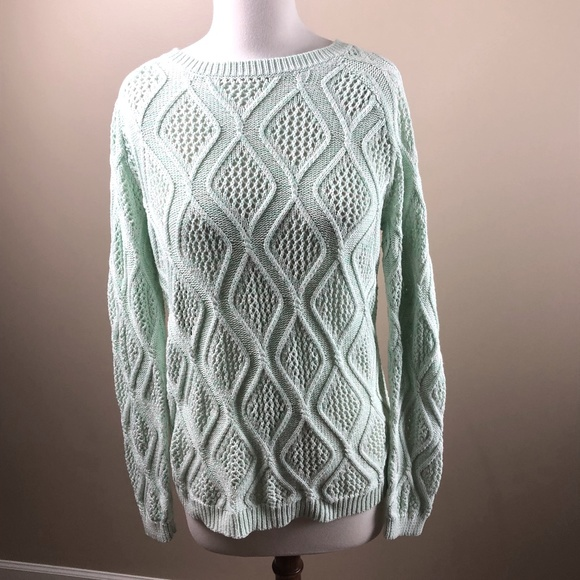 Sonoma Green/White Cabled/Crochet Sweater
